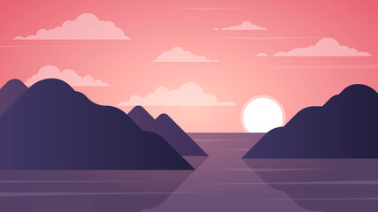 landscape sunset in the mountains, flat design