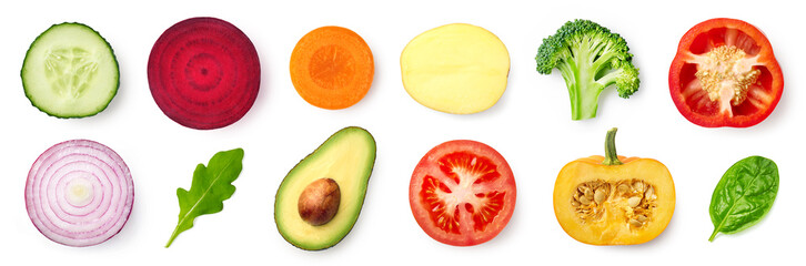 Set of different fresh vegetable slices isolated on white background