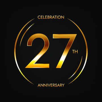 27th anniversary. Twenty-seven years birthday celebration banner in bright golden color. Circular logo with elegant number design.