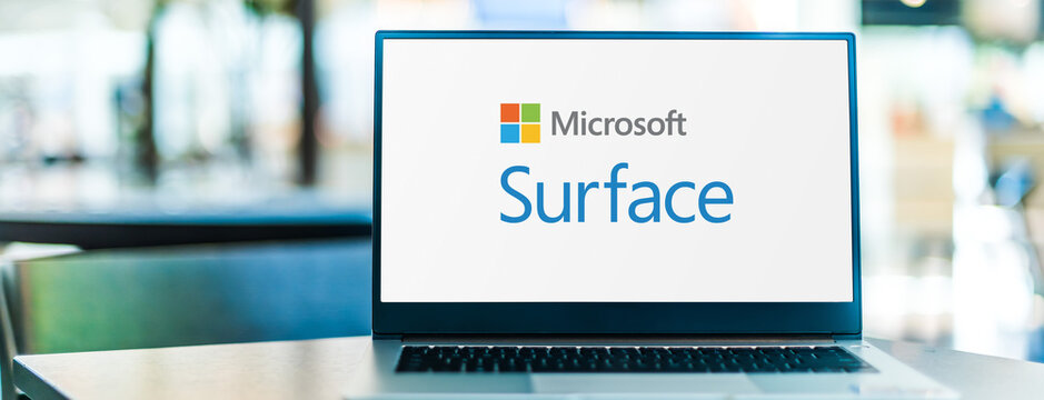 Laptop computer displaying logo of Microsoft Surface