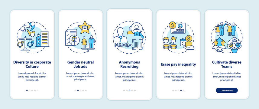 Gender diversity implementation tips onboarding mobile app page screen with concepts. Job recruiting walkthrough 5 steps graphic instructions. UI vector template with RGB color illustrations