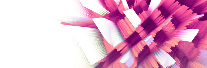 Digital 3D Illustration. Color blot splash. Abstract horizontal background.