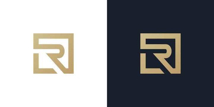 LR or L R logo . LR logo Premium monogram letter LR initials logotype. Elegant letter L R on Square vector logo.