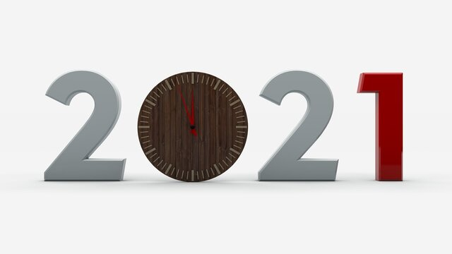 3D rendering of the 2021 date. Wooden clock instead of zero. The image is isolated on a white background. Illustration for new year's compositions.
