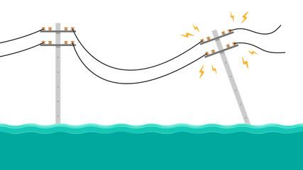 Fototapeta Electric poles flood. Broken electric pole vector. electric pole on white background. obraz