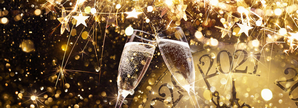 New Year's Eve 2021 Celebration Background with Champagne