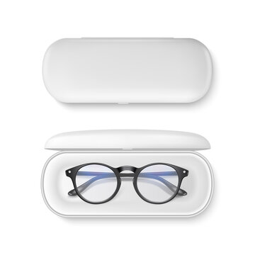 Vector 3d Realistic Plastic Round Black Rimmed Eye Glasses in White Case Box Set Closeup Isolated on White Background. Women, Men, Unisex Accessory. Optics, Health Concept. Design Template for Mockup