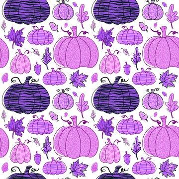 Halloween pumpkin leopard print, polka dot pumpkins seamless pattern