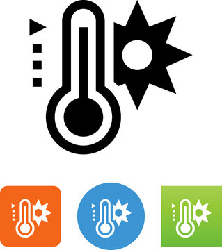 Hot Temperature Thermometer Vector Icon