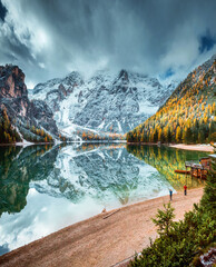 Wall Mural - Autumn scenery of peaceful alpine lake Braies. Location Dolomiti Alps, Italy, Europe.