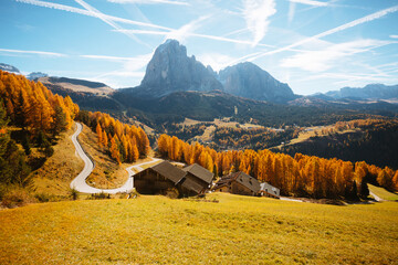 Splendid autumn landscape in Val Gardena. Location Dolomites, Trentino Alto Adige, Italy, Europe.