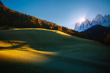Wall Mural - Morning in St. Magdalena village. Location Val di Funes, Dolomite alps, Italy, Europe.