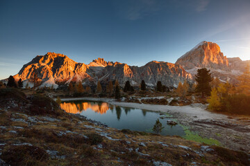 Wall Mural - Spectacular view of the Limides lake from Falzarego pass. Dolomite alps, Italy, Europe.