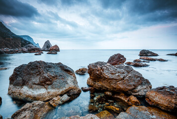 Wall Mural - Majestic Black sea and huge stone blocks in the bay. Location place Crimea peninsula, Ukraine, Europe.