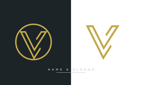 LV, VL Abstract Letters Logo Monogram