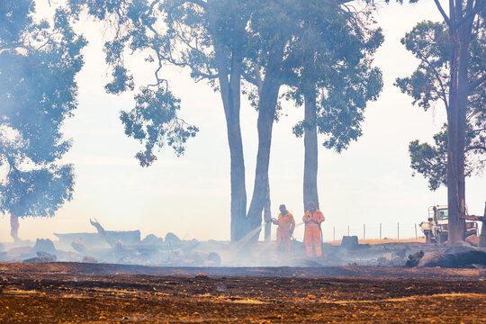 Volunteer bush fire brigade attending a fire