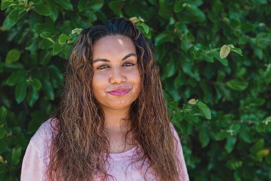 portrait of happy aboriginal woman