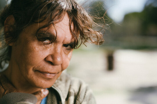Closeup of Aboriginal Woman on a Blurred Background