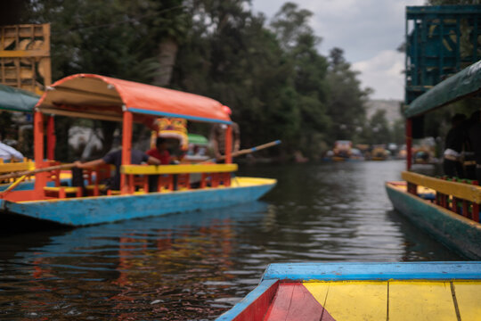 Xochimilco boats going by in southern Mexico City