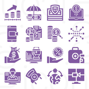 16 pack of capitalism  filled web icons set