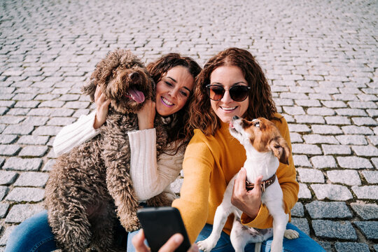 Two beautiful women sitting in the street with their pets and taking a photo with a phone. Technology lifestyle with dogs