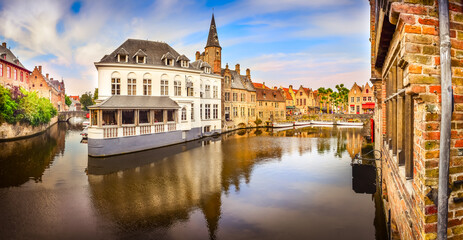Panoramic view of famous water canal in Bruges