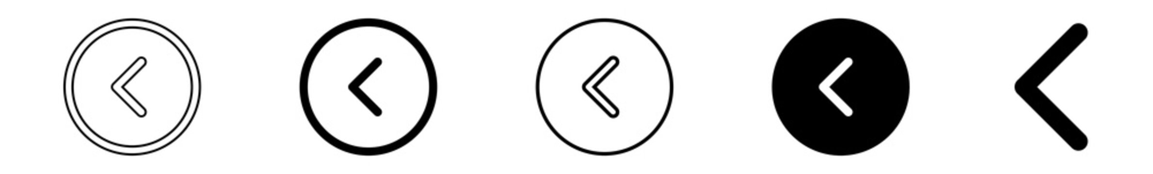 Back Button Icon Circle Black   Previous Buttons Illustration   Video Audio Player Navigate Symbol   Left Logo   Game Arrow Sign   Isolated   Variations