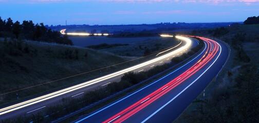 night traffic on highway
