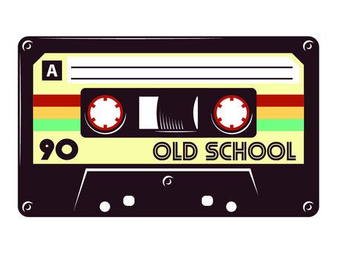 Audio cassette tape old school mixtape vector illustration isolated on white background.