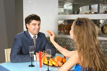 Fototapeta a pair of lovers at restaurant obraz