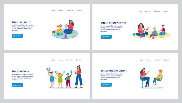 Online speech therapy center - website banner set with cartoon child