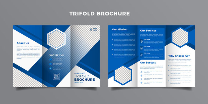 Corporate trifold brochure template. Modern, Creative and Professional tri fold brochure vector design. Simple and minimalist promotion layout with blue