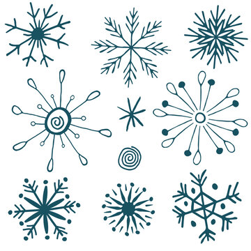 Snowflakes hand drawn icons symbols blue vector