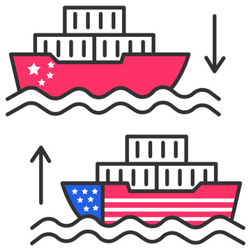 warships collision concept, Us China Trade War Vector Icon Design, Presidential elections in United States Symbol on White background