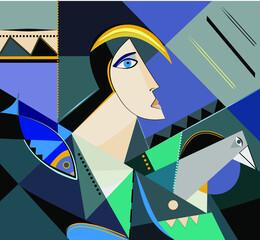 Obraz Colorful background, cubism art style,abstract portrait - fototapety do salonu
