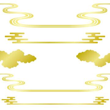 中華雲 和風波 タイトル装飾 広告イラスト