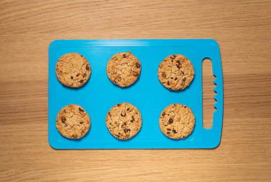 TOP VIEW: Cookies on a blue board