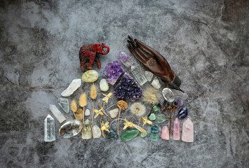 gemstones minerals with magic ritual things on abstract dark background. relaxation, meditation, Witchcraft Ritual, Relaxing Chakra. Esoteric and life balance concept.
