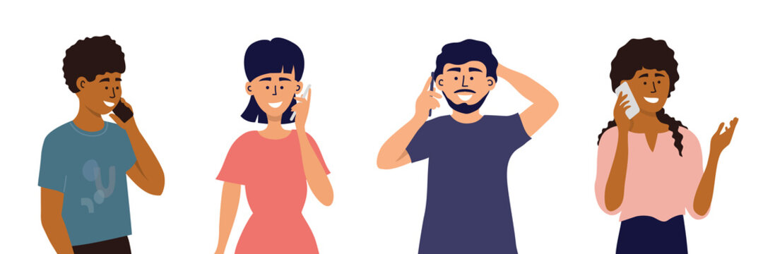 Diverse young people using smartphones. Multiethnic group of men and women making call, talking by cell phones. Characters with mobile devices in hand isolated on white background. Vector illustration