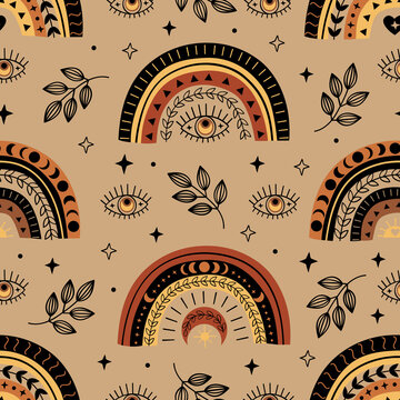 seamless pattern with bohemian rainbow and eye