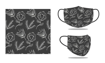 face mask design concept. leaf and flower pattern design for mask, print, fashion, fabric, cloth. reusable face protection mask. protection of corona virus, covid-19, flu, air filter Fototapete