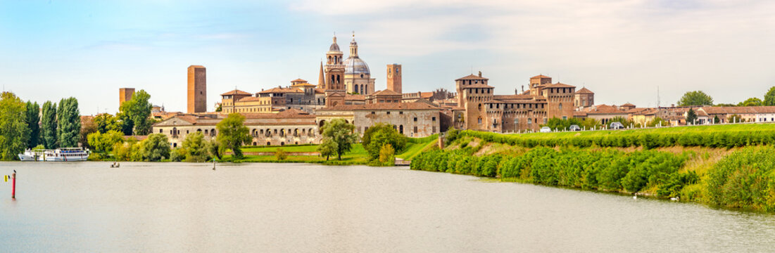 Panoramic view at the City of Mantova (Mantua) with  Lake (Lago di Mezzo) in Italy