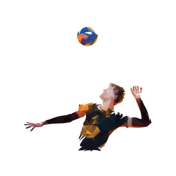 Volleyball player serving ball, low polygonal vector illustration. Beach volleyball