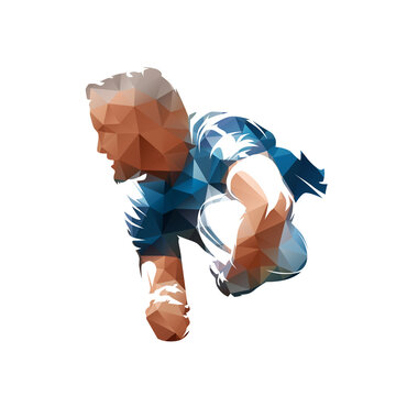 Rugby player. Low polygonal vector illustration, side view