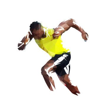 Low polygonal sprinter logo. Running man, geometric isolated vector illustration from triangles. Run