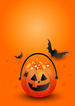 Halloween candy pumpkin bag with scary black bats on an orange background with copyspace. Creative vertical poster mockup