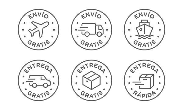 Conjunto de iconos de vector de envío, entrega gratis