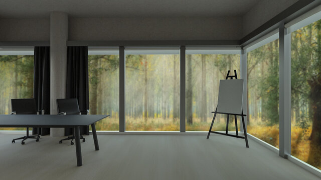 Stylish office room with blurred forest nature view in windows, photorealistic 3D Illustration of the interior, suitable for using in  video conference and as a zoom background.