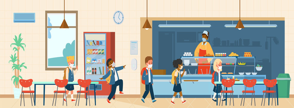 Vector School Canteen With Different Races Pupils In Protective Masks Standing In Line To Take Food. School Life During Covid-19 Pandemic. Flat Illustration.