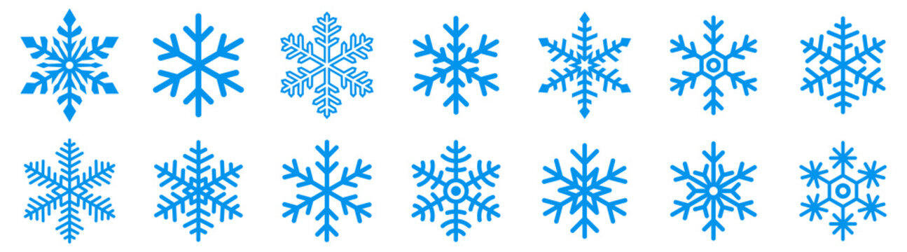 Snowflake icons set. Snowflake symbols. Snow icon. Vector illustrator